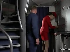 Stewardess swallows