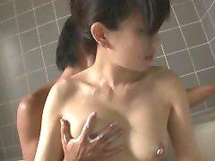 Hot milf Manami Komukai gobbles cock in the shower