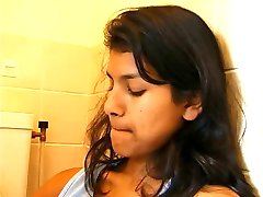 Pretty Indian Girl Fucks her Pussy in the Bathroom