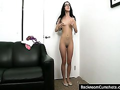 Hot brunette amateur with small tits gets fucked on a couch at an audition.