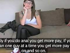 Tattooed amateur with glasses fucking on casting