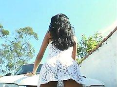 Idéal adolescent brunette anal latina fille se lave éjaculation sous la douche