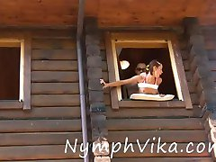 Russian teen bitch gets nailed at the window