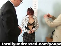 Humiliating nude job interview for redhead babe