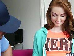 Pretty redhead Natalie Lust creampied