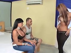 Busty latina Tgirls and one guy threesome
