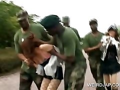 Asian sex slave gets fucked in military group sex
