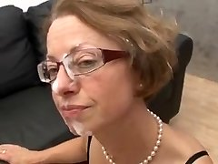 MILF with glasses gets pummeled hard