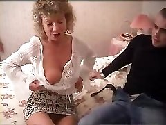 British grannie goes completely insane and tries to fuck with her grandson's friend