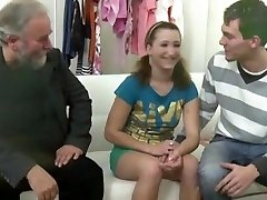 Old grey-bearded man porks teen lady when her own boyfriend comes and joins