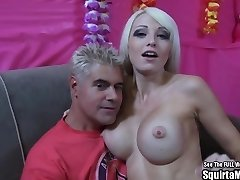 Rikki Six Big Boob Blonde Bimbo Bursts and Sucks Cock