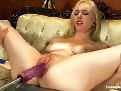 Tied up blonde machine fucked