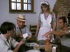 French Waitress Gangbanged by Three Guys