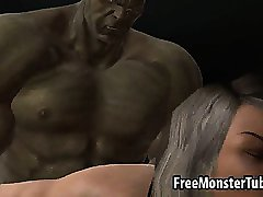 3D babe sucks cock and gets fuckedh hard by The Hulk