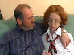 School teacher teaches schoolgirl how to fuck