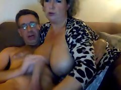 Big tits on MILF scuking her man, cums on her