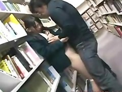 cute schoolgirl fucked by geek in library
