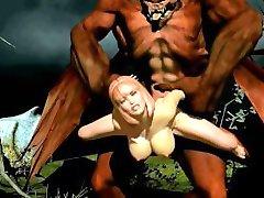 3D Дьявол трахает жесткие киска