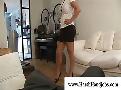 Blond rubbing dick with elbow