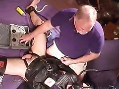 I jack a leather straitjacketed stud while turning up the juice on my electrostim machine.
