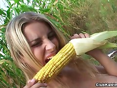 With a condom on Katrin fucks a corn