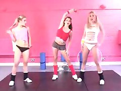 British lesbian threesome at the gym