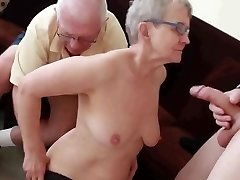 Granny & Spouse Invite a Young Stud to Pulverize Her