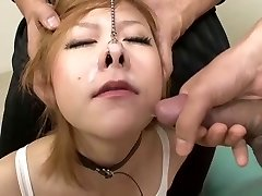 Platinum-blonde Japanese boxer gets cum up her nose!