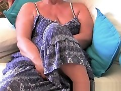Obese grannie with big old tits fucks a vibrator