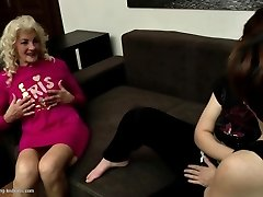 Grandmas and moms fuck young girl-on-girl meat