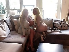 Hot cougar with enormous fake globes & her friend