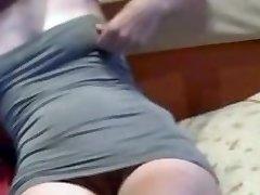 Skinny babe masturbating and urinating