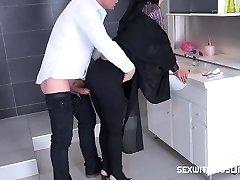 Czech Muslim bitch Freya Dee was surprised in the bathroom.