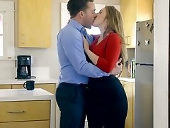 Monstrous breasted wife Lena Paul is pounded by ultra-kinky husband in the kitchen
