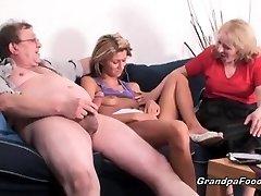 Skinny babe gets fucked in hard three way