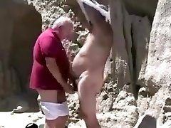 Two mature elder gay grandpa frolicking with each other