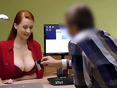 LOAN4K. Red-haired woman with impressive forms needs...