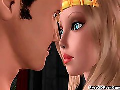 3D blonde princess sucks cock and gets fucked hard