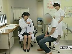 Subtitled Japanese doctor nurse handjob with cumshot