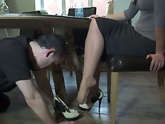Foot Worship Under The Table