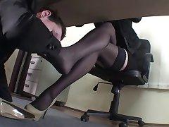 Licking sweat off her nylon feet