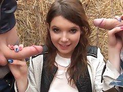 Fransk ungdoms Angela dobbeltrom knullet