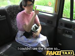 FakeTaxi Brunette with glasses pays the price for being rude