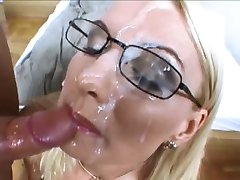 Beautiful blonde with glasses gets 2 facials