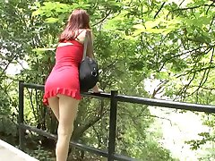 Hot teen in red dress fucked outdoors