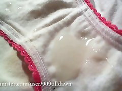 cum splattered white cotton panties