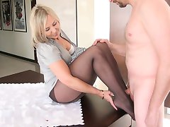Sexy Qife Pantyhose footjob 4
