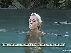 Lena blonde amateur girl with natural tits masturbating pussy by the pool