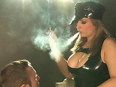 Ashley Downs chain smoking 120s latex smoking domination