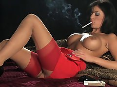 Hot Sexy Busty Brunette In Heels Smoking and Playing